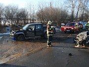 Nehoda dvou osobních automobilů ve Zbiroze.
