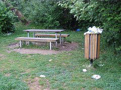 Přeplněné koše a odpadky všude. Tak to vypadá v parku kolem Rakováčku.