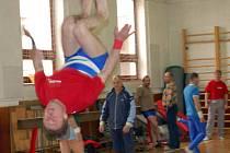 Rokycanští gymnasté (na snímku je při akrobatickém prvku Pavel Kužel) pořádali v sobotu Veteraniádu 2008.