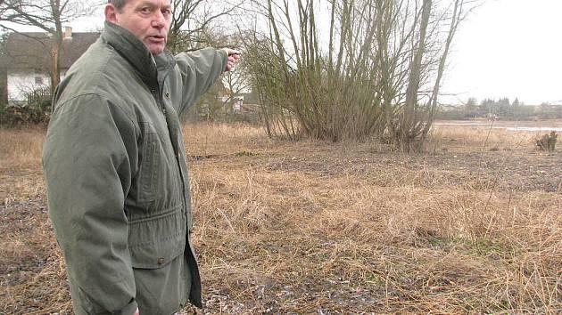 Václav Vaník se nemůže smířit s ponecháním dřevin v rozlivové zóně rybníka poblíž přítoku.