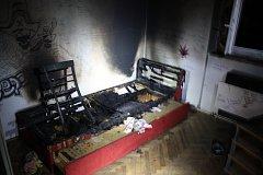 Požár bytu v Nové Huti.
