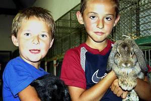V Kařezu uspořádali dvoudenní expozici domácího zvířectva. Se svými miláčky se tu pochlubili i Dominik Šindler a Jan Hrabák (zleva).
