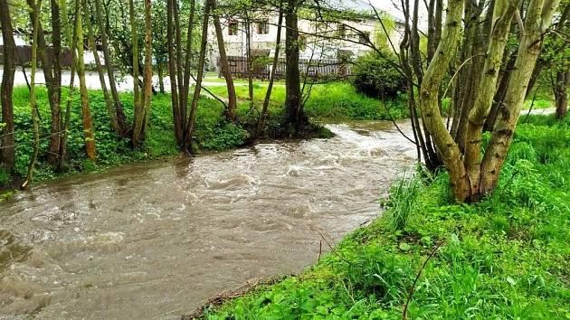 Hladina Radnického potoka se kvůli vytrvalému dešti zvýšila.