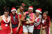 BOUŘLIVÝM POTLESKEM byla na koupališti v Újezdu u Svatého Kříže přivítána skupinka ze sousedních Břas. Pojala oslavu Vánoc stylově a manželé Krocovi (uprostřed) nezapomněli ani na čtyřnohého přítele.
