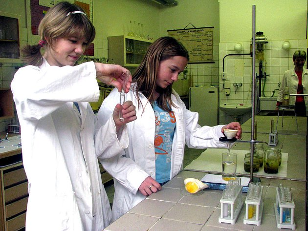 Studenti Gymnázia a Střední odborné školy Rokycany se při Dnu otevřených dveří představili i jako demonstrátoři. V chemické laboratoři působily Pavlína Jirsová a Lenka Dienstbierová.