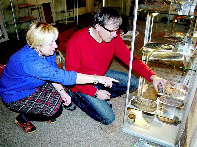 STOVKY exponátů bylo třeba vybrat, popsat a rozdělit do vitrín. Na jejich uspořádání se na snímku podílejí Petr Kraft a Martina Korandová.