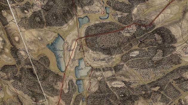 Kařez a okolí v 18. století.