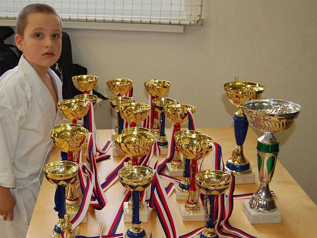 Jedním z účastníků Velké ceny DDM v karate byl Standa Podmanický z hrádeckého oddílu. Prohlížel si trofeje včetně velkých pohárů pro celkového vítěze.