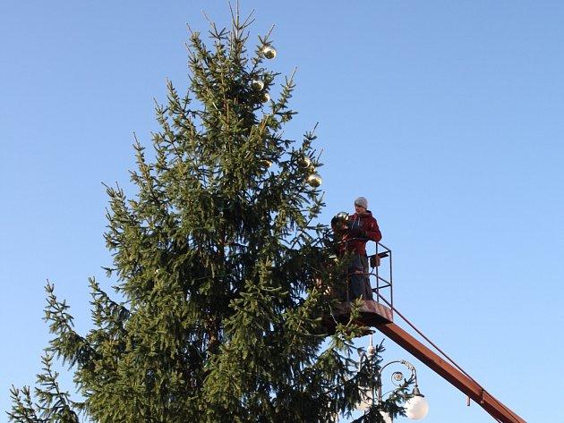 STŘED NÁMĚSTÍ ROKYCAN od včerejška krášlí nazdobený vánoční strom. Dnes k němu přibude betlém vytvořený žáky škol ze slámy. Lesáci se zase podíleli na výrobě ohrady a jesliček.