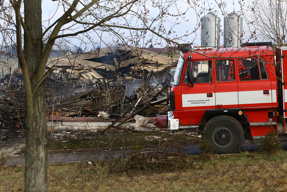 Následky a dohašování požáru porodny selat ve Vítání u Kladrub na Rokycansku.