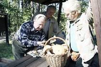 Po lesní výpravě přední český mykolog Jiří Baier (vlevo) v lomečku na Žďáru určoval úlovky houbařů a přidal i řadu rad. Na snímku s ním jsou Zdeněk Jelínek a Vlastimil Pešl.