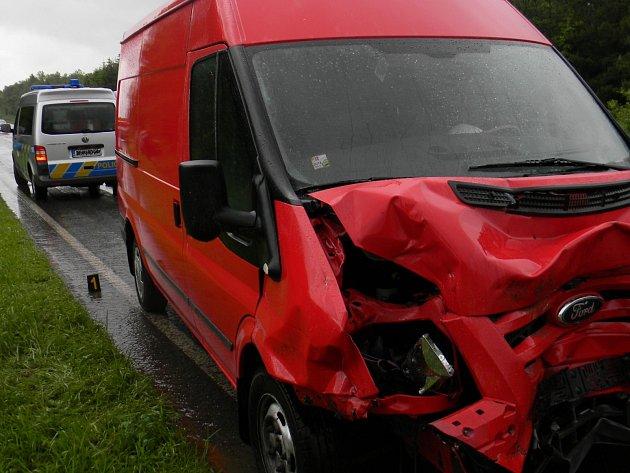 Nehoda dodávky u Rokycan