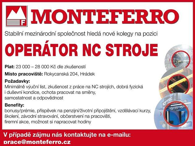Nepřehlédněte!!! MONTEFERRO hledá nové pracovníky pro provoz v Hrádku!