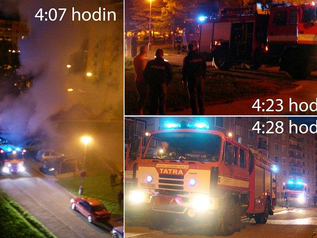 Obyvatele sídliště Pražská vzbudilo nad ránem vytí sirén. Hasiči museli ve vnitrobloku zlikvidovat požár tří aut.