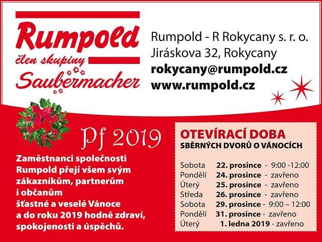 RUMPOLD ROKYCANY - Otevírací doba sběrných dvorů během vánočních svátků