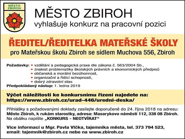 Město Zbiroh vyhlašuje výběrové řízení.