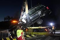Noční nehoda na dálnici nad Rokycany