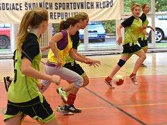 VÍTĚZNÁ DRUŽSTVA, tedy obě ze ZŠ Jižní Předměstí Rokycany, postupují na regionální finále v házené kategorie IV. do Plzně. Na snímku týmy Strašic a Oseka.