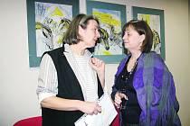 S výtvarnicí Danou Raunerovou (vlevo) si do rokycanské galerie Fouyer přišli o jejím díle popovídat mnozí.