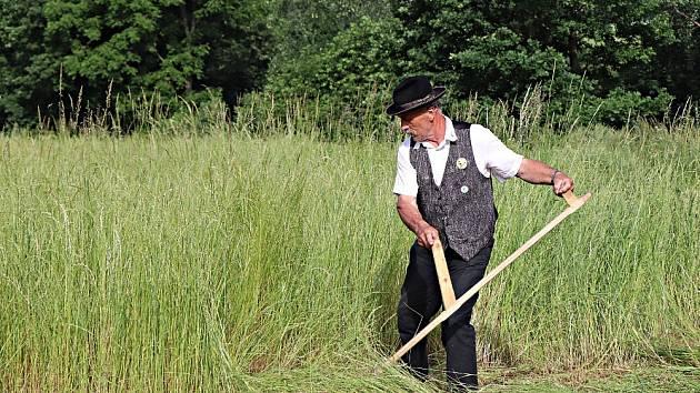 Sečení trávy kosou.