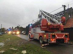 Požár autoservisu v Příkosicích
