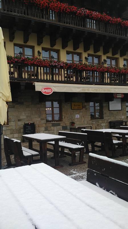 Takto to vypadalo ještě po 10. hodině ráno na terasách šumavského horského hotelu Alpská vyhlídka v zaniklé obci Bučina na pomezí českých a bavorských hranic.