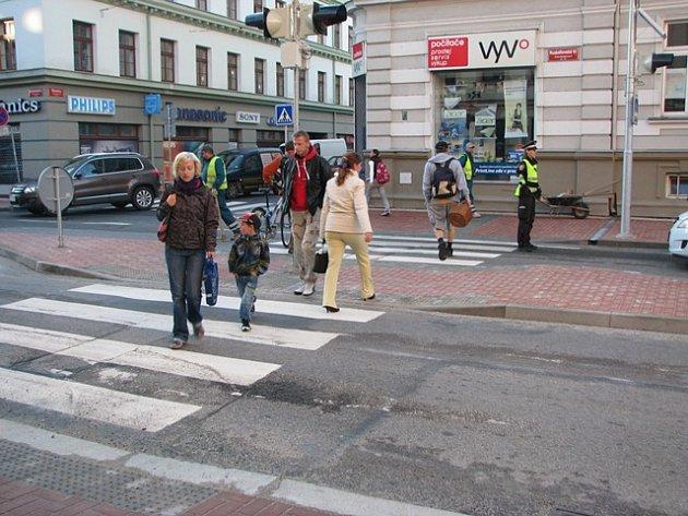 Přechod v Rudolfovské ulici v Českých Budějovicích.