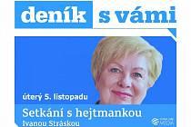 Setkání s hejtmankou Jihočeského kraje Ivanou Stráskou.