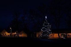 1. Vánoční strom v Břehově. Snímek zaslali obyvatelé obce.