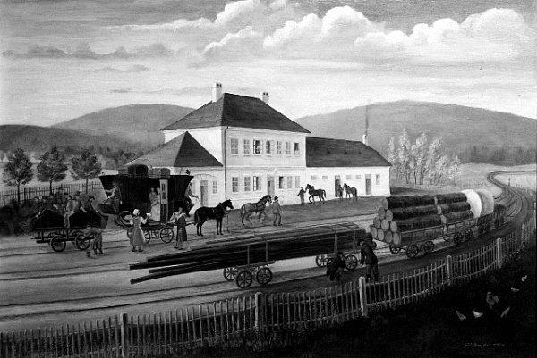 Jiří Bouda namaloval vroce 1974bujanovskou přepřažní stanici takto. Zmátl tím celé generace historiků.