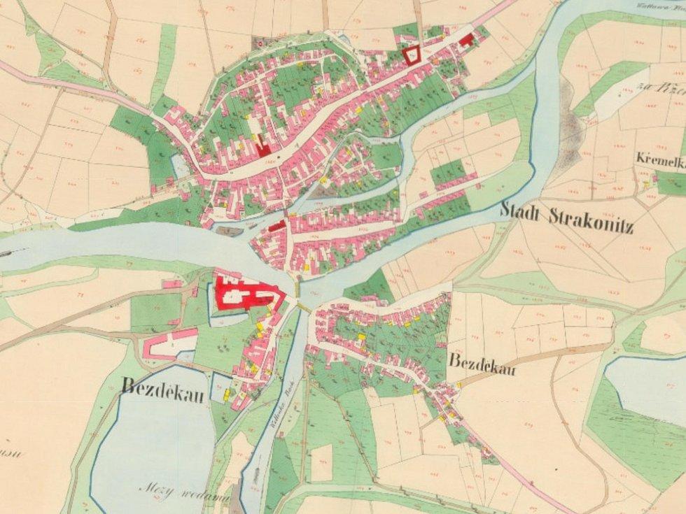 Stará katastrální mapa Strakonic.