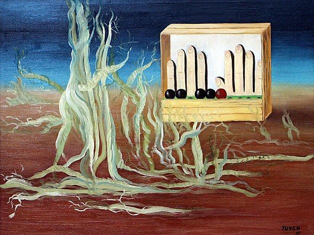Obraz Toyen snázvem Ospalé území zroku 1937byl součásí výstavy českého surrealismu vAlšově jihočeské galerii na Hluboké nad Vltavou.