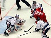 Budvar aréna v Českých Budějovicích sleduje zápas Českých hokejových her mezi Ruskem a Finskem.