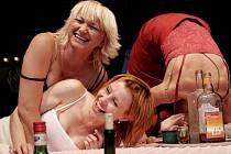Jitka Schneiderová, Jana Krausová a Anna Šišková předvádějí na scéně  hereckou transformaci v patnácti různých charakterech.