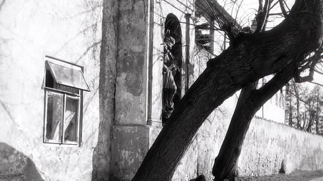 Kaplička u slepého ramene Malše v roce 1955.