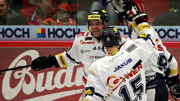 Utkání 4. kola playoff hokejové extraligy mezi HC České Budějovice a HC Bílí Tygři Liberec.