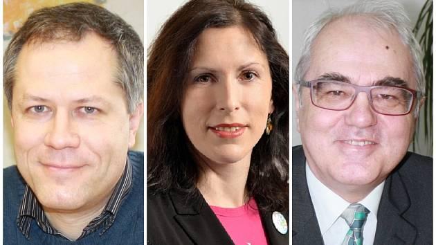 Současní kandidáti na rektora Jihočeské univerzity: Tomáš Machula, Dagmar Škodová Parmová a Lubomír Pána.