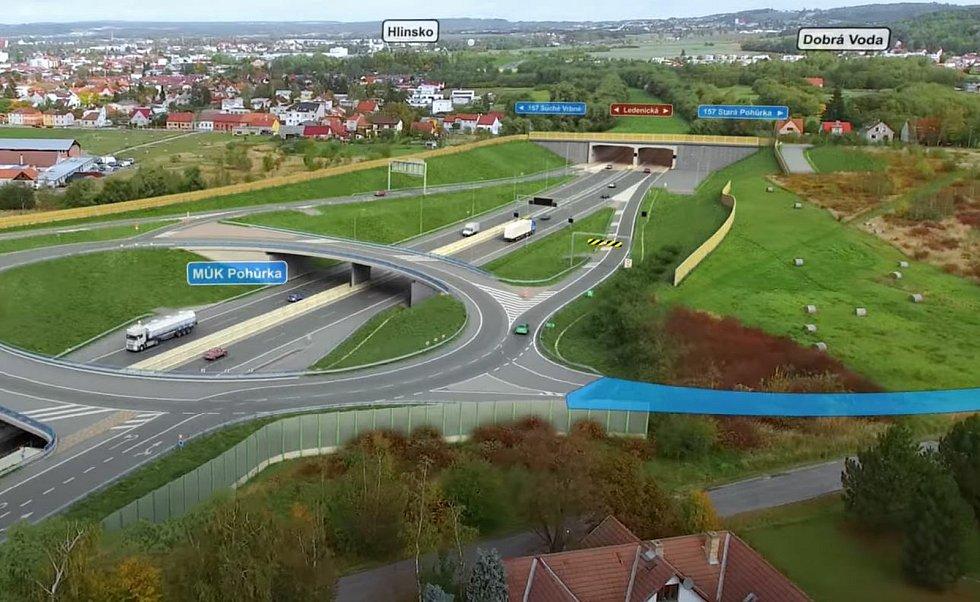 Vizualizace D3. MÚK Pohůrka u konce stejnojmenného tunelu pod Ledenickou ulicí.