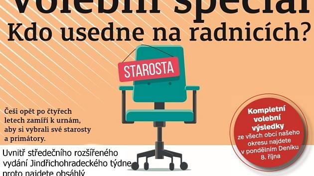 Volební Jindřichohradecký týden koupíte jako přílohu středečního Deníku nebo od čtvrtka samostatně s vloženým TV magazínem.