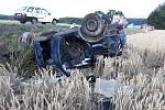 Vážná dopravní nehoda se ve čtvrtek brzy ráno stala na silnici první třídy mezi Třeboní a Lišovem. Foto: Policie ČR
