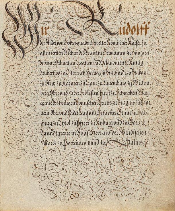 Neznámý rudolfínský mistr kaligrafie: Nobilitační spis Eliase Schmidtgrabnera von Listenegg, rok 1594 (soukromá sbírka v ČR)