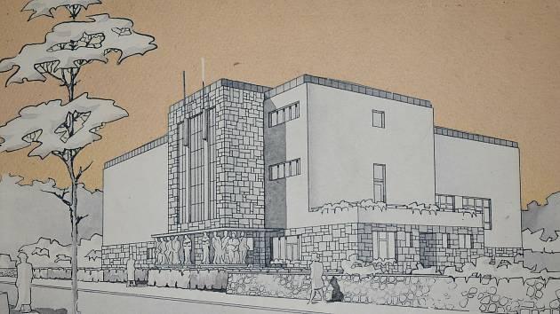 Nerealizovaný projekt stavby muzejní budovy v Týně nad Vltavou architekta Šulce z roku 1944.