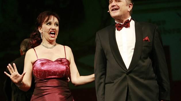 Nepřesvědčivě působil duet Blondýnky sladké, v němž nepřirozeně kontrastoval supersilný operní hlas Miroslavy Veselé s nepoměrně méně zvučným zpěvem Miloslava Veselého.