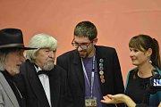 Mezinárodní festival studentských filmů Písek, 2014. Na snímku vlevo Juraj Jakubisko, vedle něho Miroslav Ondříček.