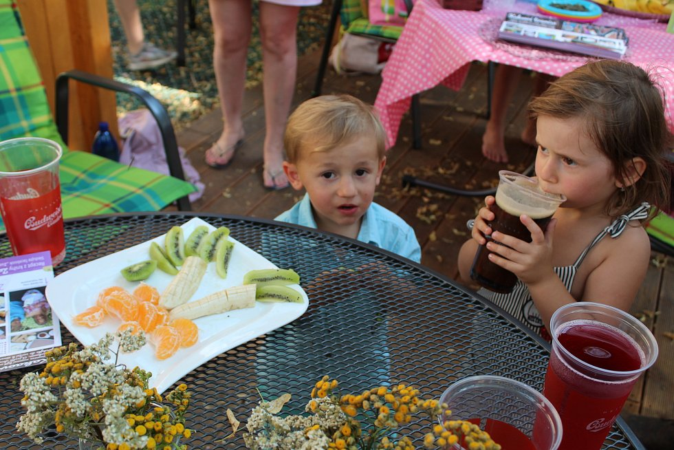 V Café Deník v budějovickém parku Bosonoha děti v úterý vytvářely z ovoce a zeleniny zdravé dobroty. I ty se objeví v knize Zuzanka a Jiřík vaří.