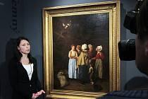Alšova jihočeská galerie koupila za dva miliony obraz Modlitba za oběšence, který namaloval Hippolyt Soběslav Pinkas. Koupila ho od fondu Pro Arte, který ho získal loni na aukci v Dijonu za necelý milion korun. Na snímku kurátorka Kristýna Brožová.
