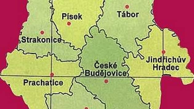 Mapa Jižních Čech