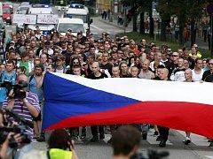 Protestní průvod v Českých Budějovicích.