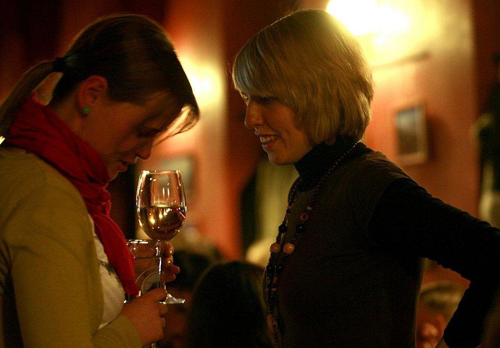 Zimní verze festivalu Okolo Třeboně nabídla 11. února v českobudějovickém Café klubu Slavie pět objevů. Na snímku ozdoba přehlídky, písničkářka Žofie Kabelková v hovoru s jednou z divaček.