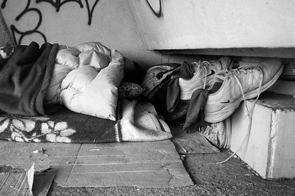 Útočiště bezdomovců.